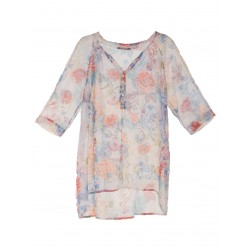 "blusa fiorata con lurex C655GN1 ""PLEASE"""