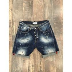 """bermuda jeans schizzi pittura STEVEN L406 """"I'M BRIAN"""""""