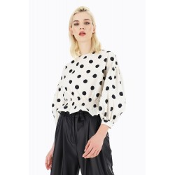 Blusa a pois con maniche volume - Please Fashion