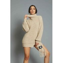 Abito in maglia sciarpa applicata sabbia - J.b4