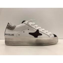 Sneakers In Morbida Pelle Con Punta e Tab Pitonato Bordeaux - Ama Brand