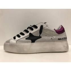 Sneakers In Pelle Laminata Tab Fucsia - Ama Brand