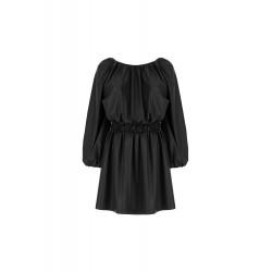 Mini abito arricciato in similpelle - Imperial Fashion