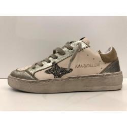 Sneakers In Pelle Con Inserti Glitter e Laminati - Ama Brand