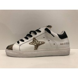 Sneakers In Pelle Bianca e Stampa Animalier - Ama Brand