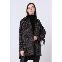 Maxi Camicia animalier con Frange - Imperial Fashion