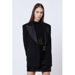 Blazer doppiopetto con dettaglio in raso - Imperial Fashion
