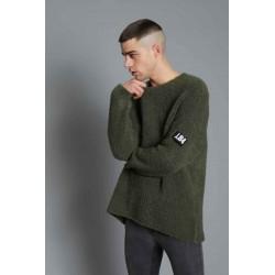 Maglione bouclè con patch verde militare - J.b4