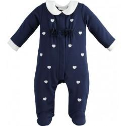 Tutina neonata con piedini e fantasia a cuori - Minibanda
