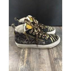 """sneaker maculato e righe giallo ROLL-W """"CHANGE"""""""