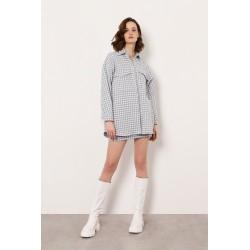 Camicia oversize pied de poule con frange - Imperial Fashion