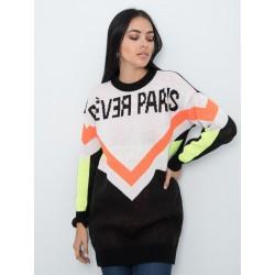 Maxi Pull Nero e Arancio Fluo - Rever Paris