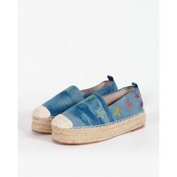 Espadrillas Platform in Jeans con Stelle - Gio Cellini