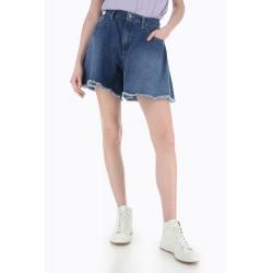 Shorts Ampi in Jeans con orlo - Please Fashion