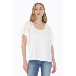T-Shirt Monocolor Con Maniche Volant - Please