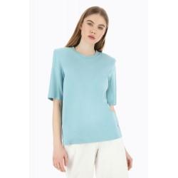 T-Shirt monocolor Con Spalle Imbottite - Please