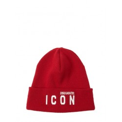 D2 ICON PATCH KNIT HAT ROSSO